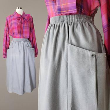 Vintage Cotton Chore Skirt, Large 18W / 1980s Midi Pocket Skirt / Mid Weight 100% Cotton A Line Skirt / Casual Elastic Waist Skirt by SoughtClothier