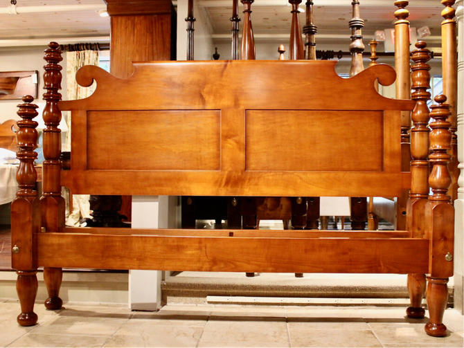 Empire Urn Top in Maple, Original Posts Circa 1830, Resized to King