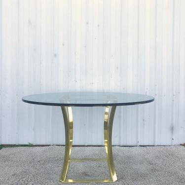 Vintage 1980s Brass & Glass Dining Table