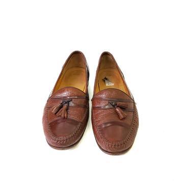 Moreschi Shoes Genuine Crocodile Men's 11.5 Brown Tassel Loafer Leather Slip On by MakingMidCenturyMod