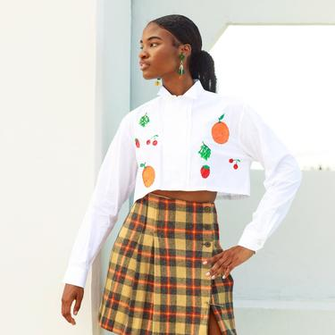 80s White Fruit Orange Strawberry Hand Painted Embroidered Crop Top Vintage Reworked Blouse by AppleBranchesVintage
