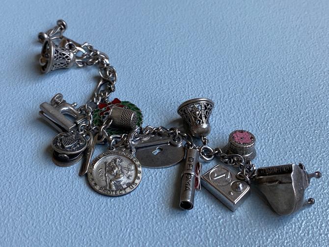 Vintage 50s/60s Sterling Silver Charm Bracelet by SpeakVintageDC