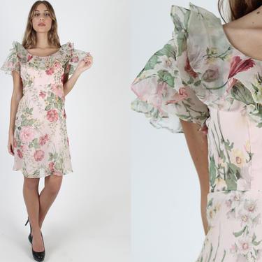 Pink Floral Chiffon Mini Dress / Vintage 70s Garden Floral Dress / Flutter Sleeve Ruffle Collar Dress / Wedding Prairie Mini Dress by americanarchive