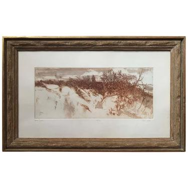 """""""Sand Dunes"""" Sepia Landscape Etching by Ruth Leaf"""
