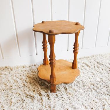 Unique Two-Tier Scalloped Edge Wood Table with Geometric Leg Detail by PortlandRevibe
