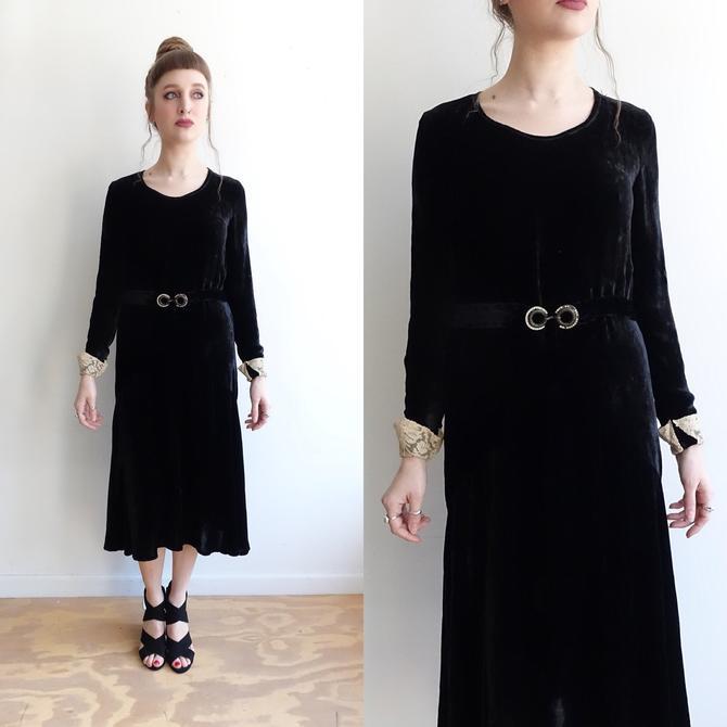 1920s Black Silk Velvet Dress with Lace Cuffs and Rhinestone Belt/ 20s Long Sleeve Belted Dress/ Medium by bottleofbread