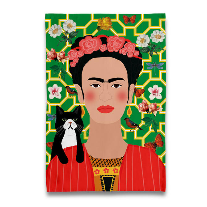 Frida & Tuxedo Cat Tea Towel