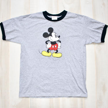 Vintage 90s Mickey Mouse T Shirt, 1990s Disney Tee, Ringer Tee, Heather Gray, Short Sleeve by WildwoodVintage