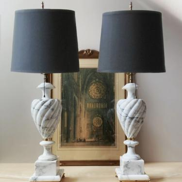 pair vintage italian alabaster table lamps - marble urn lamp brass dolphin feet by ionesAttic