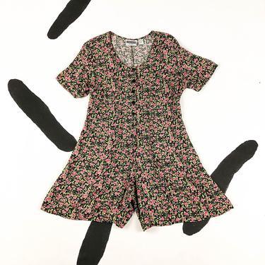 90s Ditsy Floral Rayon Romper / Skater Dress / Corset Back / XL / Size 14 / Grunge / 1990s / Skort / Large / Shorts / XXL / 90210 / Fluttery by badatpettingcats