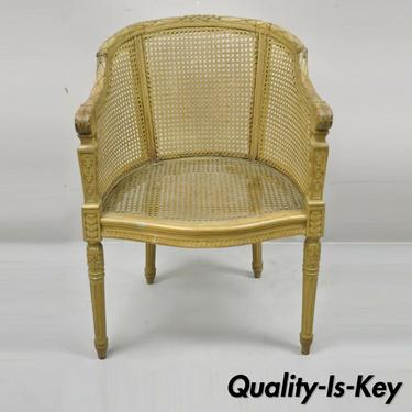 Antique French Louis XVI Style Carved Wood Cane Bergere Lounge Arm Chair