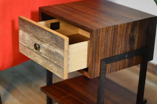 Black Walnut + Reclaimed Wood Side Tables // Night Stand // Bed Side Table // FREE SHIPPING by ThisIsUrbanMade