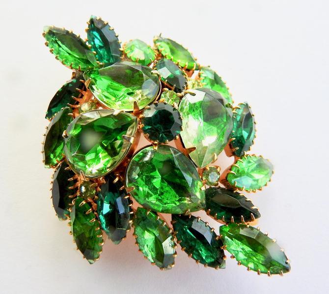Green on Green 3 D Rhinestone Brooch by LegendaryBeast