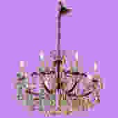 Mid-Century Crystal and Brass Chandelier