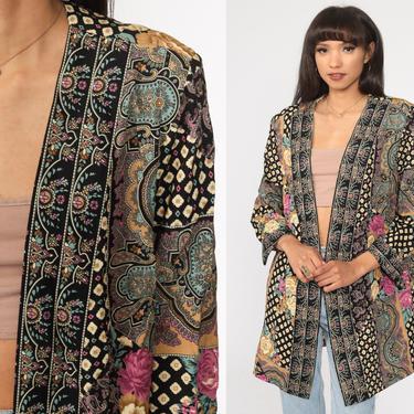 Floral Paisley Jacket 90s Open Front Blazer Bohemian Vintage 1990s Women Rose Jacket Boho Jacket Retro Medium Large xl by ShopExile