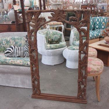 Faux Bamboo Oak Leaf Mirror