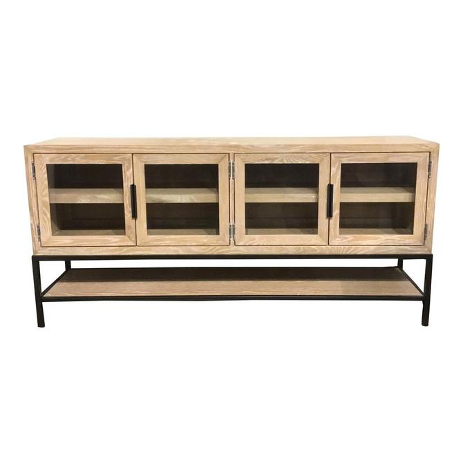 Modern Blonde Wood Cerused Console Table