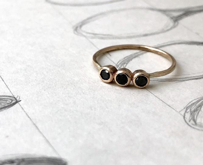 Black Diamond Trio Ring - Three Black Diamond Bezel Ring in 14k Yellow Gold by RachelPfefferDesigns