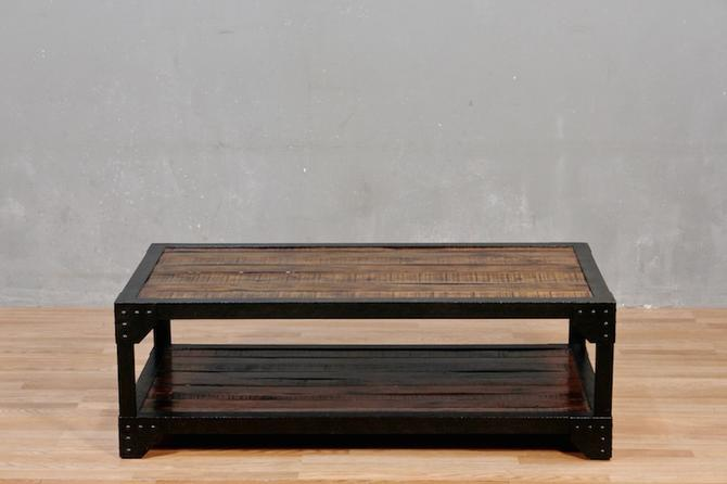 Contemporary Iron & Wood 2-Tier Coffee Table – ONLINE ONLY