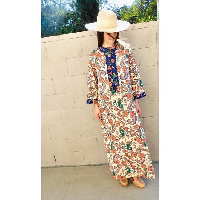 On the Vine Dress // vintage boho cotton maxi hippie hippy 70s 1970s floral sun // S/M by FenixVintage