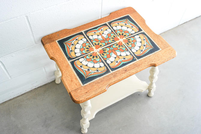 Vintage Hand Painted Spanish Style Tile and Solid Carved Wood Accent Table by PortlandRevibe