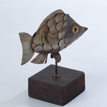 Vintage welded brutalist fish sculpture on wood by PeachModern
