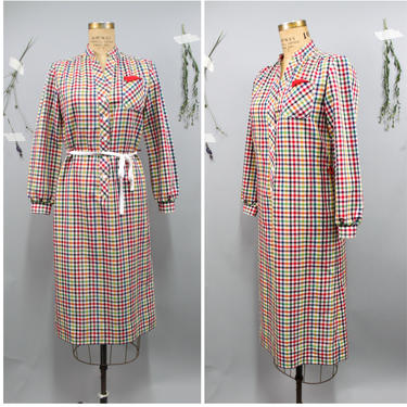 70's Multicolor Check Shirtdress in Size 4/6 by KittenSurprise