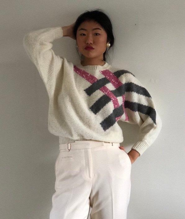 90s batwing sweater / vintage creamy white graphic striped cropped batwing lightweight acrylic sweater   S by RecapVintageStudio