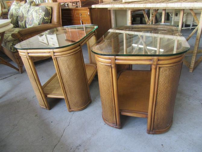 Rattan Glass Top Side Tables