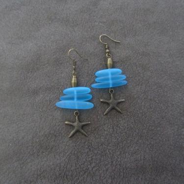 Blue sea glass earrings, starfish earrings, tribal ethnic earrings, bold earrings, boho earrings, beach earrings, bohemian brass summer by Afrocasian