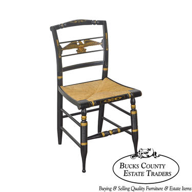 Hitchcock Black & Gold Stenciled Eagle Sheraton Style Side Chair by BucksEstateTraders