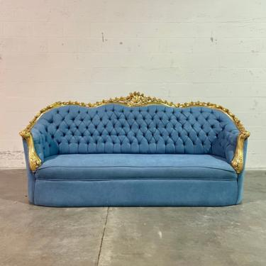 French Tufted Sofa Light Blue Velvet French Sofa Tufted Settee Vintage Furniture Antique Baroque Rococo Interior Design Vintage Sofa by SittinPrettyByMyleen