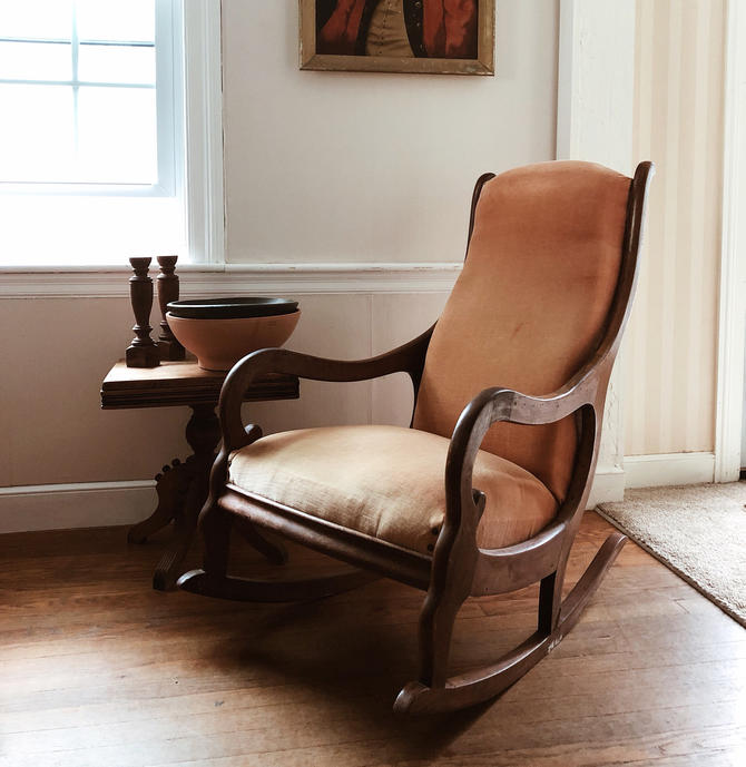 Early 1900s Upholstered Wood Rocker, wood rocking chair, pink upholstered rocking chair by VintageandSwoon