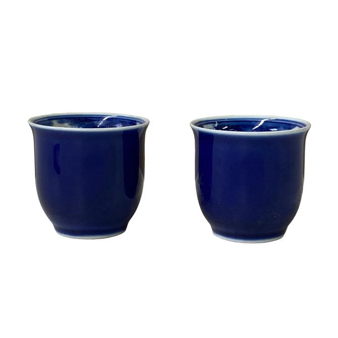 Pair Chinese Handmade Porcelain Blue White Fishes Graphic Cups ws1353S by GoldenLotusAntiques