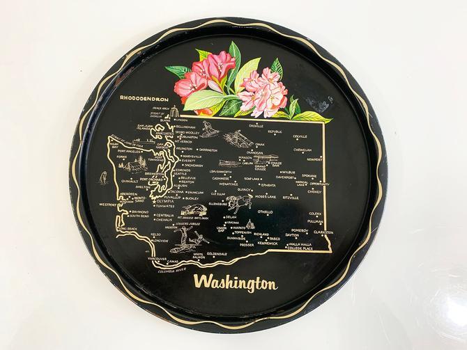 Vintage Metal Washington State Drink Tray Plate Souvenir Retro Rhododendron Blossom MCM Mid-Century Barware Bar Flower Floral by CheckEngineVintage