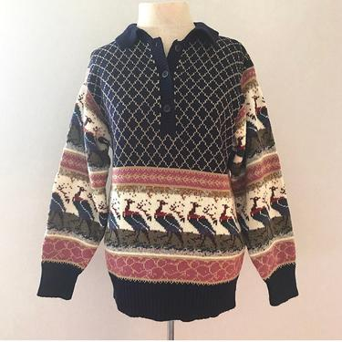 Vintage 70s 80s Pullover Button-Down Collared Peacock Sweater by citybone