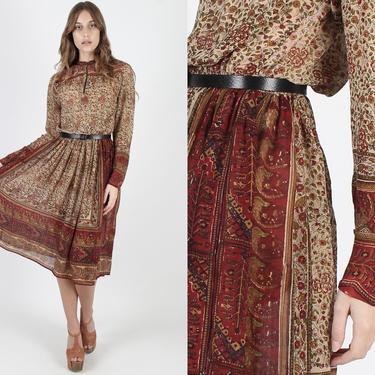 Ritu Kumar India Dress Judith Ann India Silk Dress Floral Print Dress Vintage 70s Thin Folk Festival Bohemian Full Skirt Midi Mini Dress by americanarchive