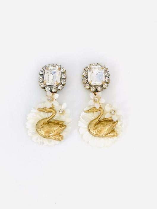 The Pink Reef Swan Earring