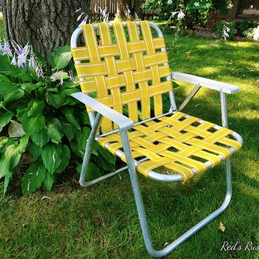 Mid Century Vintage Yellow & White Webbed and Aluminum Folding Garden/Lawn Lounge Chair by RedsRustyRelics