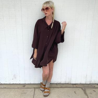 Vintage Oversized Shirt Dress Brown Button Up Tunic by LoveItShop