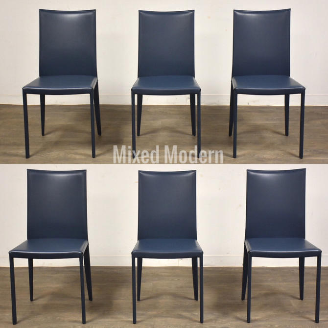 Italian Modern Lilly Blue Leather Frag Dining Chairs - Set of 6 by mixedmodern1