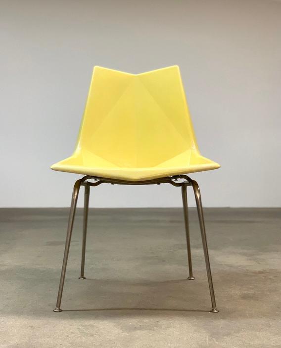 Paul McCobb Origami Yellow Fiberglass Chair by midcenTree