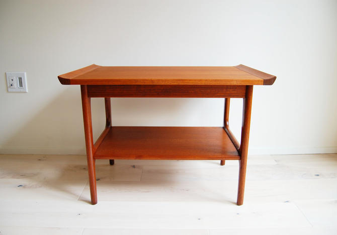 Mid Century Modern Teak Rectangular Side Table with Second Magazine Shelf by MidCentury55