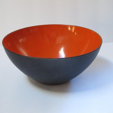 Mid Century Metal Bowl Krenit Enamel Bowl Red Orange Herbert Krenchel Bowl Danish Enamelware Bowl Danish Modern Enamel Vintage Krenit by akaATA