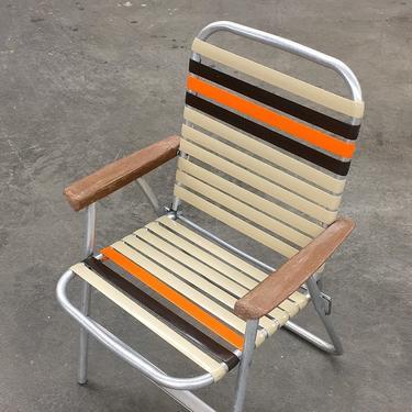 Vintage Lawn Chair Retro 1970s Duralite + Orange + Brown + Webbed Vinyl Seat + Silver Metal Frame + Patio Chair + 2 Units + SOLD SEPARATELY by RetrospectVintage215