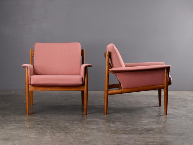 Pair of Mid-Century Lounge Chairs Grete Jalk France and Son Danish Modern Teak by MadsenModern
