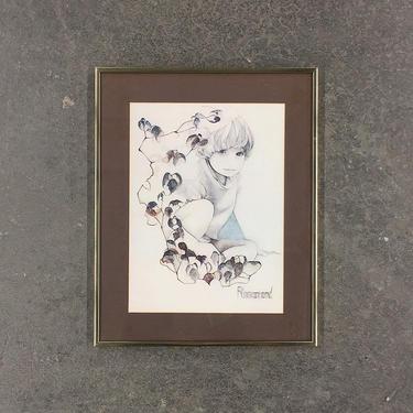 Vintage Rosamond Print 1970s Retro Size 21x16 Bohemian + Garden Child + Little Boy with Flowers + Gold Metal Frame + Boho Home + Wall Decor by RetrospectVintage215