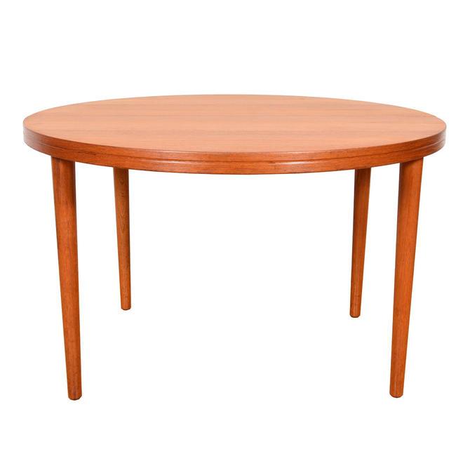 Swedish Modern Teak Round-to-Oval Dining Table + Adj Leg Placement