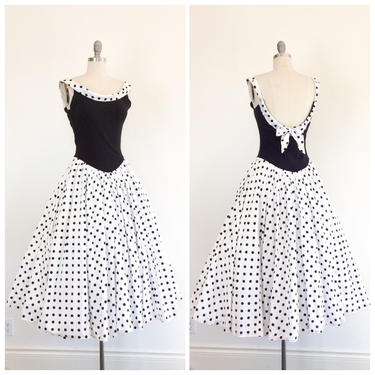 FINAL PAYMENT for KAREN ///80s Black & White Polkadot Low Back Sun Dress / 1980s does 1950s Vintage Cotton Day Dress / Medium to Large by CheshireVintageShop