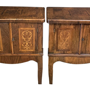 Rustic Pair of Italian Neoclassical Style Marquetry 2-Door Bedside Cabinets